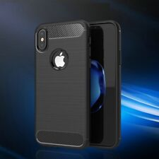 iPhone X Carbon Fibre Protective Cover. Black Shockproof Rugged Cushion Case