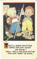 ARTIST MABEL LUCIE ATTWELL -  CHILDREN - ARTIST EASIL BRUSHES  VINTAGE POSTCARD