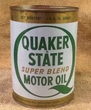 Vintage Red Top Quaker State Super Blend Motor Oil Quart Can - Full Unopened