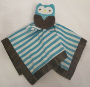 Old Navy Owl Baby Blanket Aqua Green White Stripe Brown Satin Security 2013