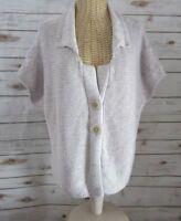 J, JILL Womens Large Petite Lavender Purple SS Boxy Cotton Cardigan Sweater PL