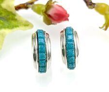 Carolyn Pollack Sterling Silver Turquoise Stone Chip Hoop Earrings