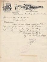 U.S. Illustrated Patterson Machinery Co. Kansas City 1901 Paid Invoice Ref 40248