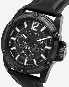 POLICE PL.93778AEU/02 | schwarz | Herrenuhr | Edelstahl | Leder | NEU & OVP