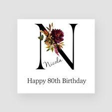 N iniziale cartolina di Compleanno per la sua Ragazza Personalizzati Qualsiasi Nome/Età