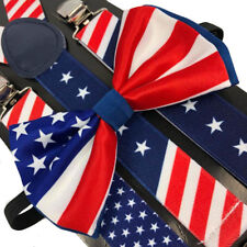 Men & Women Combo Suspender + BowTie USA FLAG America Style Fashion Accessories