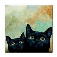 Large Ceramic Tile 6x6 Home Decor black Cat 607 art painting by L.Dumas