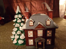 Vintage , Christmas Ceramic Lighted Tree & House Yuletide Snow 1986