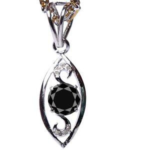 1.67 Ct Black Color Moissanite & Raw White Natural Diamond 925 Silver Pendant