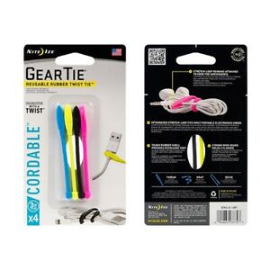 NEW - Lot of 4, Niteize Reusable Rubber Twist Ties 4 Packs