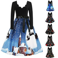 Women Long Sleeve A-Line Dress Christmas Musical Notes Vintage Flare Dress GB