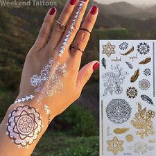 Flores Plumas De Oro Plata Metálico transferencias de Henna Cuerpo Tatuaje Temporal