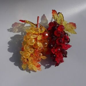 Vintage Acrylic Grape Clusters Amber Red Jewels