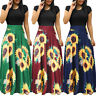 Summer Womens Boho Short Sleeve Sunflower Sundress Beach Casual Swing Maxi Dress