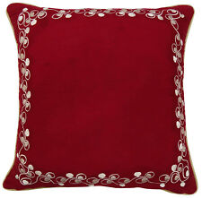 Floral Embroidered Square Cotton Cushion Cover Indian Throw Red Pillow Case