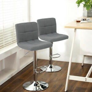 2X Bar Stools Adjustable Breakfast Kitchen Stools Fabric Swivel Chrome Gas Lift