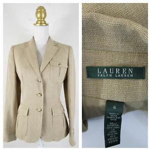 Lauren Ralph Lauren Tan Beige Linen Pocket Blazer Jacket Size 6 Formal Career