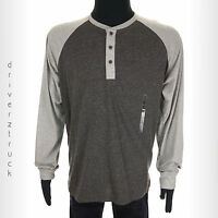 LEVI'S Men's SMALL Colorblock GRAY HENLEY SHIRT Long RAGLAN Sleeves