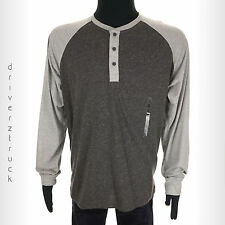 LEVI'S Men's SMALL Light & Charcoal GRAY SHIRT Long Sleeve HENLEY Raglan Sleeve