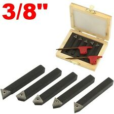 "5 pc 3/8"" Indexable Carbide C6 Insert Tool Bit & Holder Mini Lathe Set"