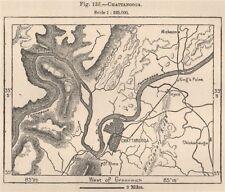 CHATTANOOGA. Tennessee 1885 VECCHIO ANTICO VINTAGE MAPPA piano Grafico