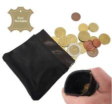 Porte monnaie bourse homme noir clic clac sans fermeture éclair CUIR VERITABLE