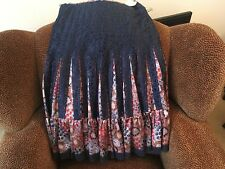 FREE PEOPLE LACE AND SILK LONG COLORFUL HIP SKIRT, SIZE 0..BREATHTAKING