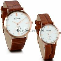 Classic His and Hers Leather Quartz Wrist Watches for Men Women Christmas Gift