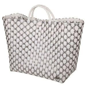 HANDED BY Shopper Lima weiß silber Tasche Korb geflochten Kunststoff Bag grau