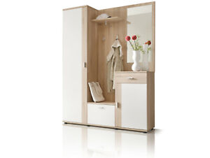 Komplette Garderobe Flur Diele Garderobenset Garderobe PAINT Eiche Sonoma weiß