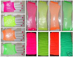 Legwarmers Short Long Fishnet Gloves Hen Party 80s Fancy Dress Disco Halloween