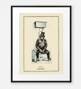 Funny Vintage Surreal Chimp Bathroom Toilet Wall Art Print Old Illustration