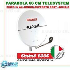 PARABOLA 60 CM IN ALLUMINIO EMMEESSE ANTENNA SATELLITARE SUPPORTO POST. ACCIAIO