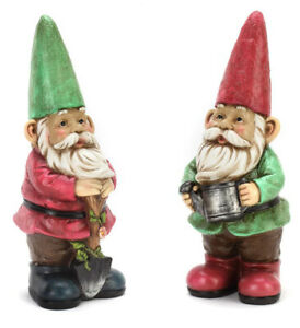 Garden Gnome Red and Green 12 inch Resin Stone Collectible Figurines Set of 2