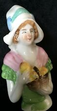 "Antique Porcelain Half Doll Dutch Holland Basket Pears 3.5"" Germany ""Foreign"""