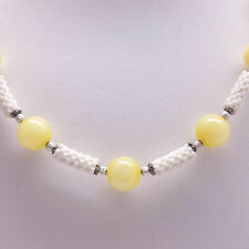 Yellow Jade Beadwork Tube Necklace
