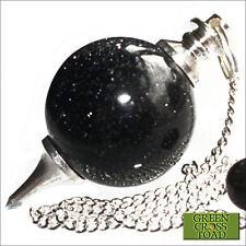 Blue Goldstone Dowsing Pendulum Ball Sphere Crystal Scrying Radiesthesia