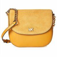 Michael Kors Half Dome Suede-Trim Leather Crossbody Yellow Womens Purse Bag
