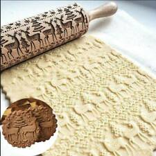 Christmas Embossing Rolling Pin Engraved Elk Baking Cookies Cake Roller Xmas