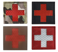 Medic Cross Patch Reflective Hook Loop Paramedic EMT Military 5x5cm first aid