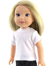 """White T-Shirt Fits Wellie Wishers 14.5"""" American Girl Clothes"""