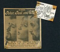 1966 Peter Paul and Mary Concert Ticket Stub Miami Beach Puff The Magic Dragon