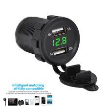 1x Motorcycle 12V 3.1A Dual USB Charger Socket Green LED Light Voltage Voltmeter