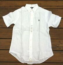 Mens Polo Ralph Lauren Short Sleeve Classic Fit Buttondown Linen Shirt S M L XL