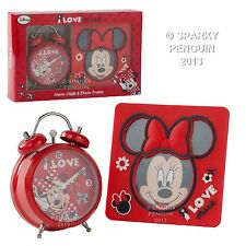 DISNEY I LOVE MINNIE MOUSE ROSSO Sveglia & PHOTO FRAME SET REGALO 100% UFFICIALE