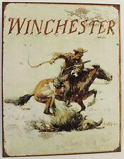 WINCHESTER COWBOY & HORSE METAL SIGN Rifle Gun Revolver Pistol Wild West NEW Rep