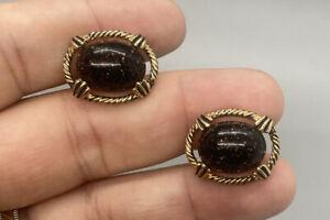 Swank Vintage Gold Tone Glitter & Black Oval Cufflinks