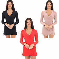 New Women's Ladies Slinky Frill Wrap Over V Neck Plunge Bodycon Skater Dress Top