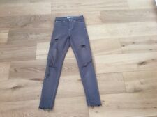 TOPSHOP JAMIE GREY MID RISE SKINNY DISTRESSED JEANS SZE 6 LEG 32