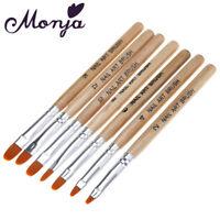 7pcs wooden Nail Art Acrylic UV Gel Tips Extension Builder Pen Brush tool